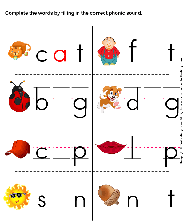 At word fill in the initial consonant to make words – Free Printable Worksheets for Kindergarten Phonics