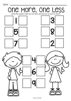 One More One Less Game Kindergarten Math Kindergarten Math Games Preschool Math One less worksheet kindergarten