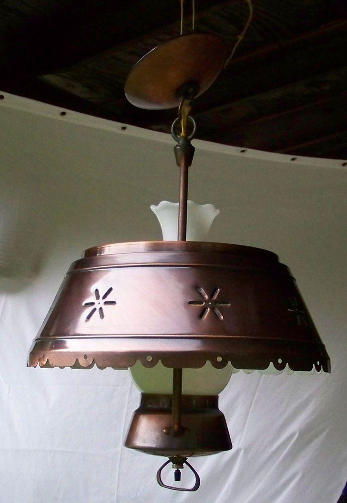 vintage copper milk glass hanging ceiling lamp hurricane. Black Bedroom Furniture Sets. Home Design Ideas