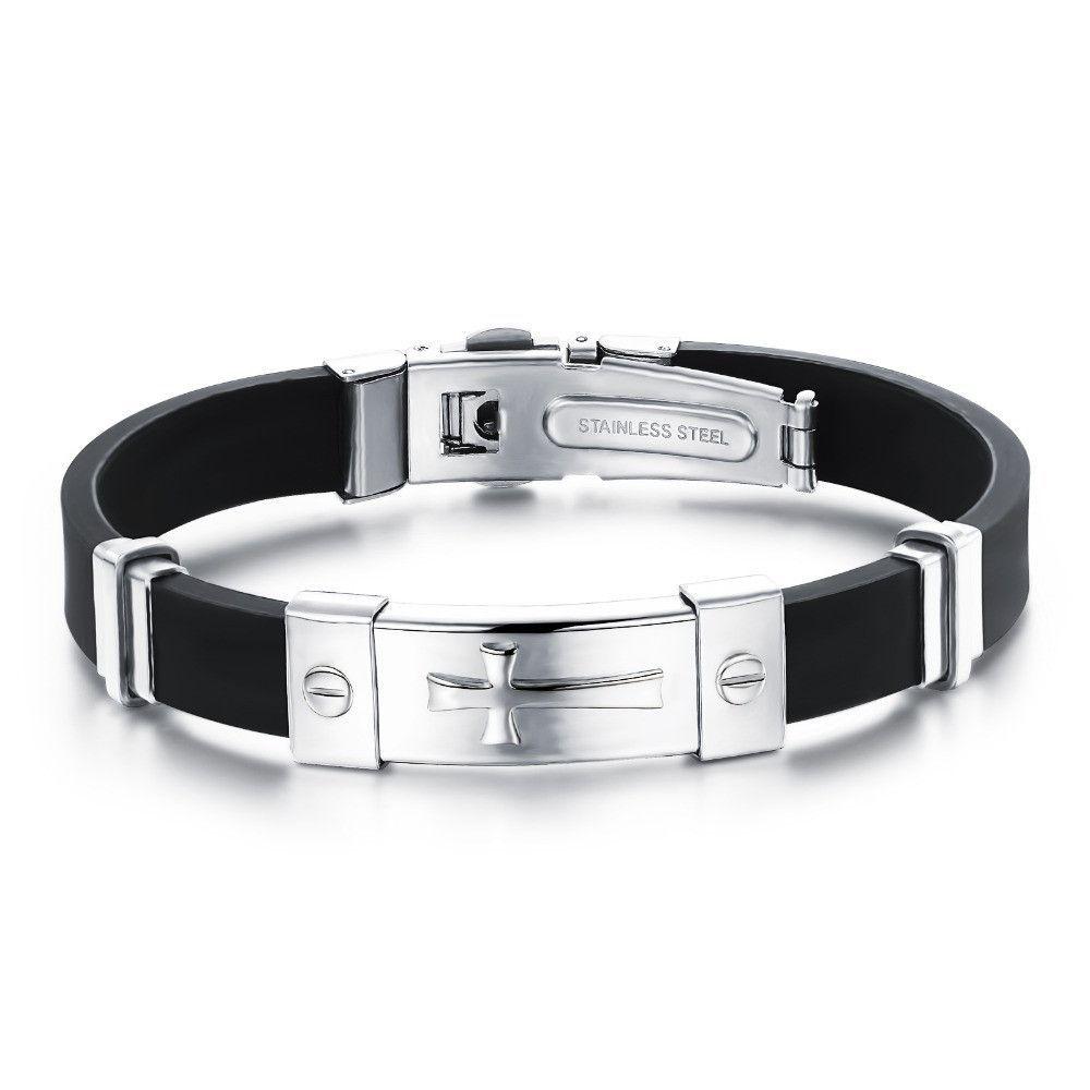Stainless Steel Cuff Bangle Mesh Band Charm Cross Bracelet Men/'s Women/'s Jewelry