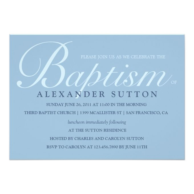 Simple Blue Baptism Christening Invite 5 - sample baptismal invitation for twins