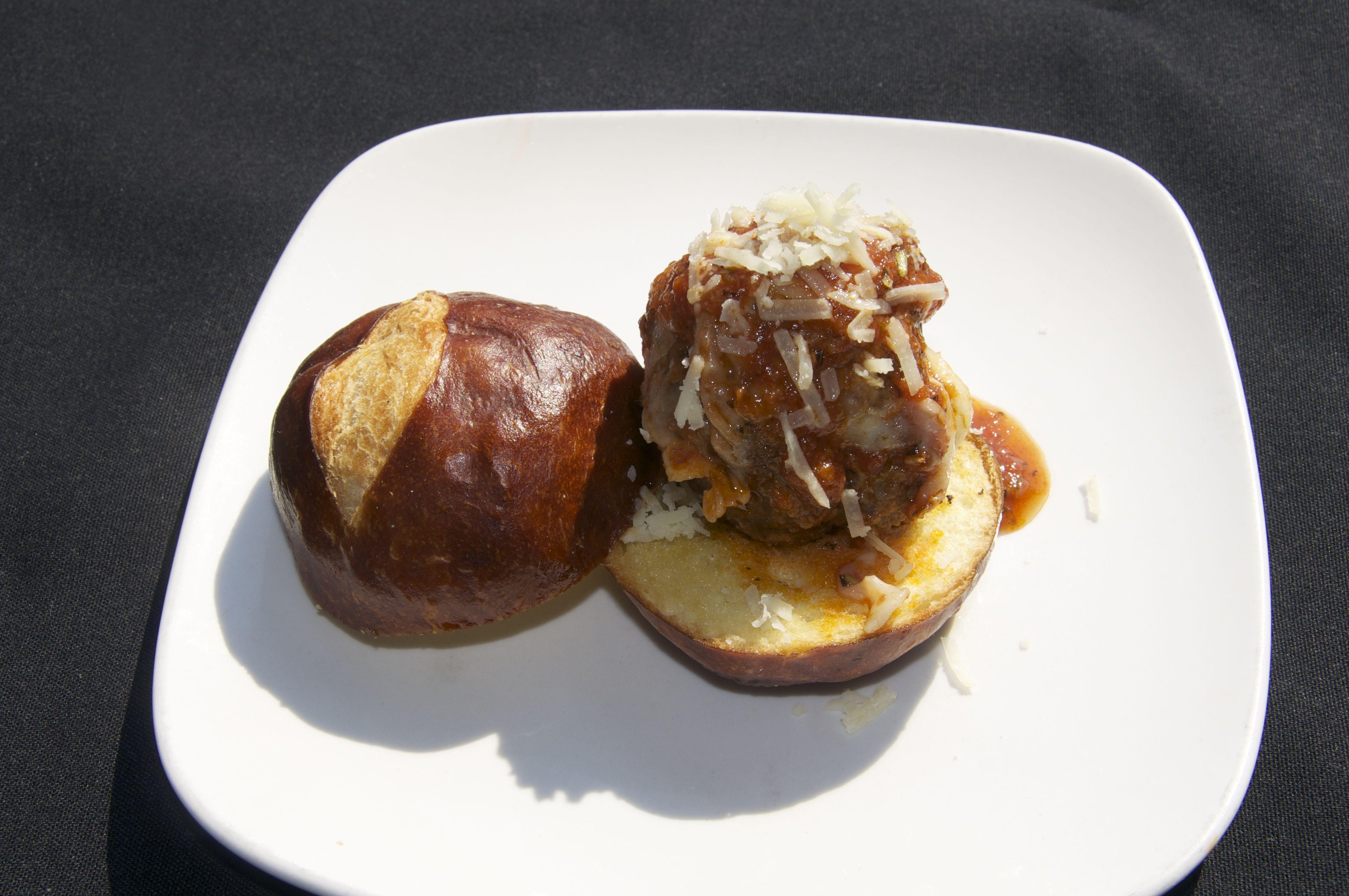 The Rock (House-made Meatball, mozzarella, and marinara on a pretzel roll)