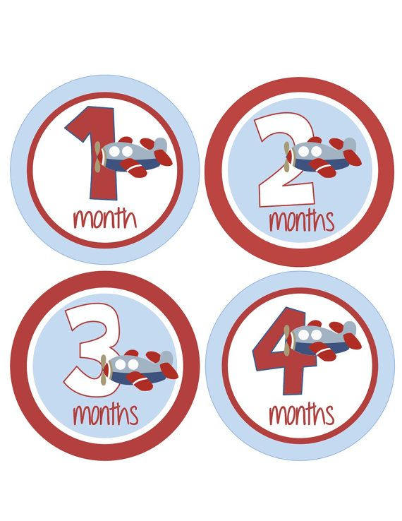 18 Month Stickers: Monthly Onesie Stickers Boy Baby Month Stickers Airplane