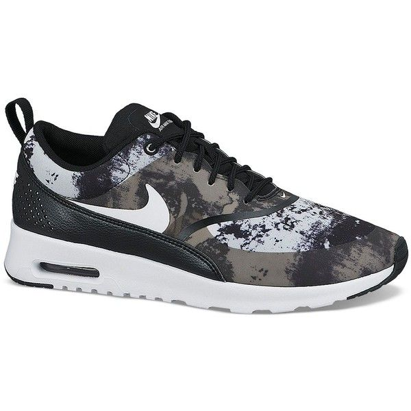 Nike Lace Up Sneaker - Women's Nike Air Max Thea Print ($100) ❤ liked on Polyvore featuring shoes, sneakers, nike, round cap, perforated shoes, nike footwear, lightweight shoes and traction shoes