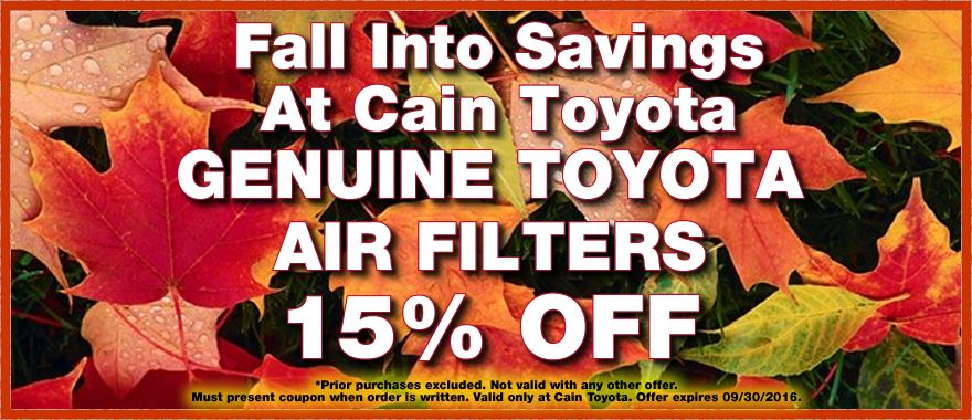 Save 15 on your next purchase of Genuine Toyota Air