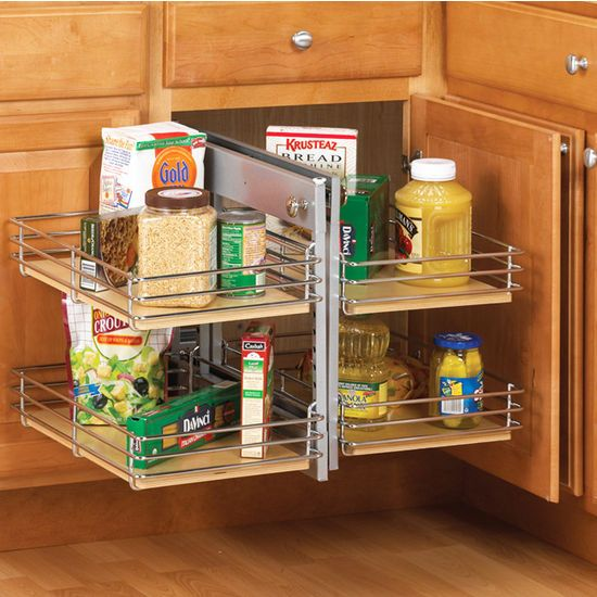 The Knape Vogt Slide Out Base Blind Corner Unit Features A Front Set Of Shelves That And To One Side Allowing Second Tucked In