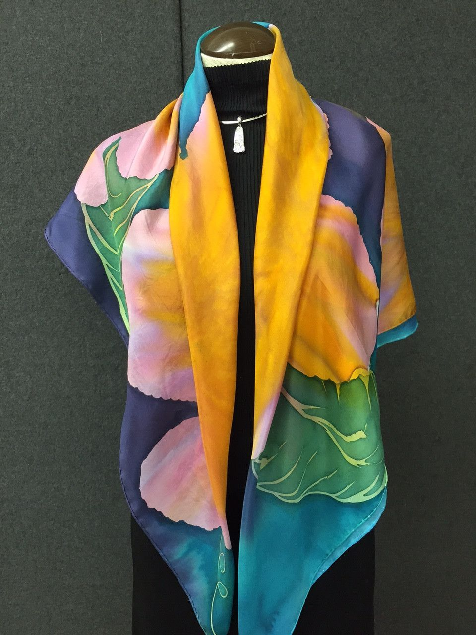 Summer Fun - Hand Painted Silk Scarf / Wrap