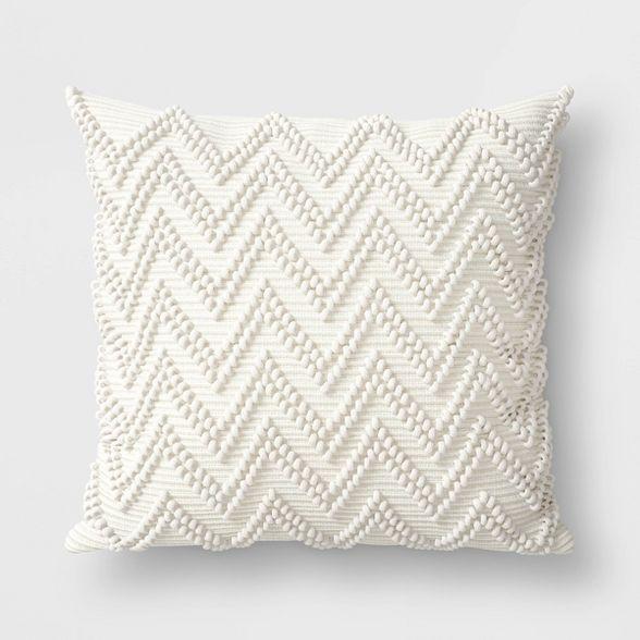 Textured Woven Outdoor Throw Pillow