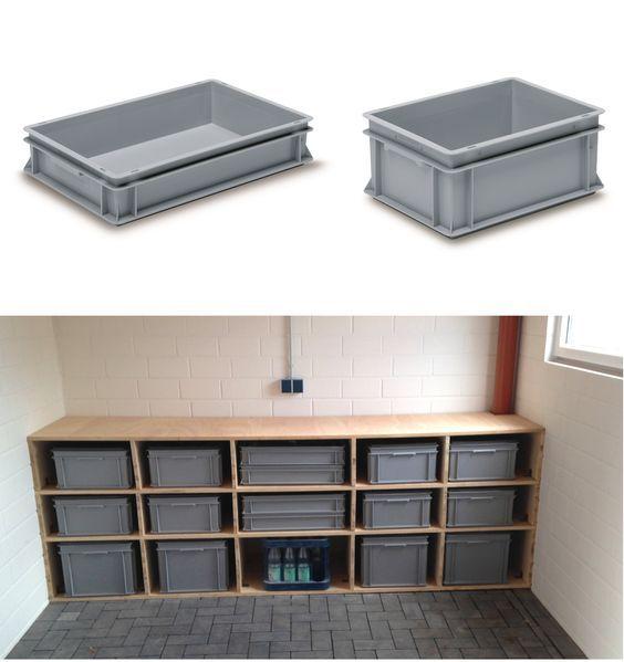 ordnung schaffen rako beh lter aus kunstoff in verschiedenen gr en im individuellen holzregal. Black Bedroom Furniture Sets. Home Design Ideas