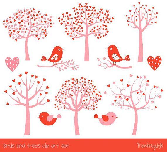 Love Tree Clipart Set Red Heart Tree Clipart Pink Cute Valentine