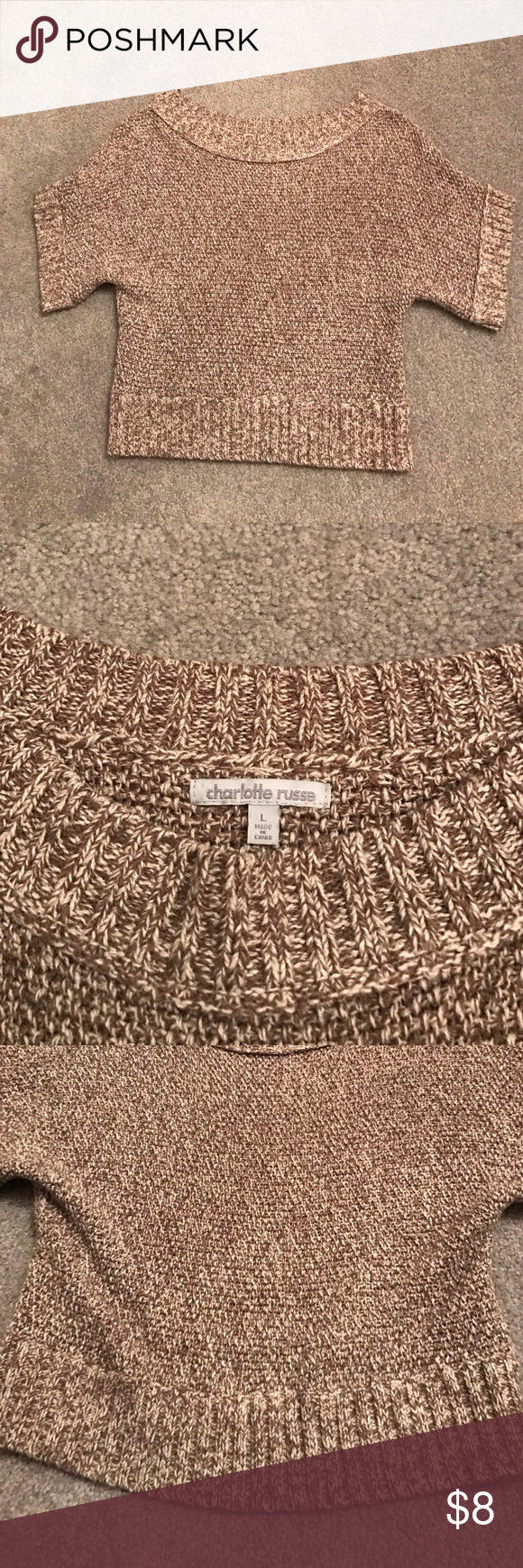Cropped sweater, Charlotte Russe Great cropped sweater! So cute on! Runs small Charlotte Russe Sweaters Crew & Scoop Necks