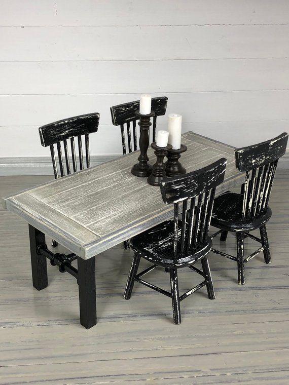 Miniature Table, Dollhouse Table, Modern Dollhouse, Dollhouse Furniture, Miniature Furniture, Farmho #dollhousefurniture