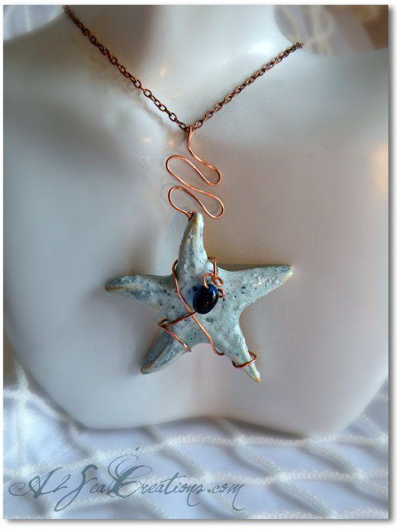 Starfish Pendant - Handbuilt Wire-Wrapped Clay Pottery | Starfish ...