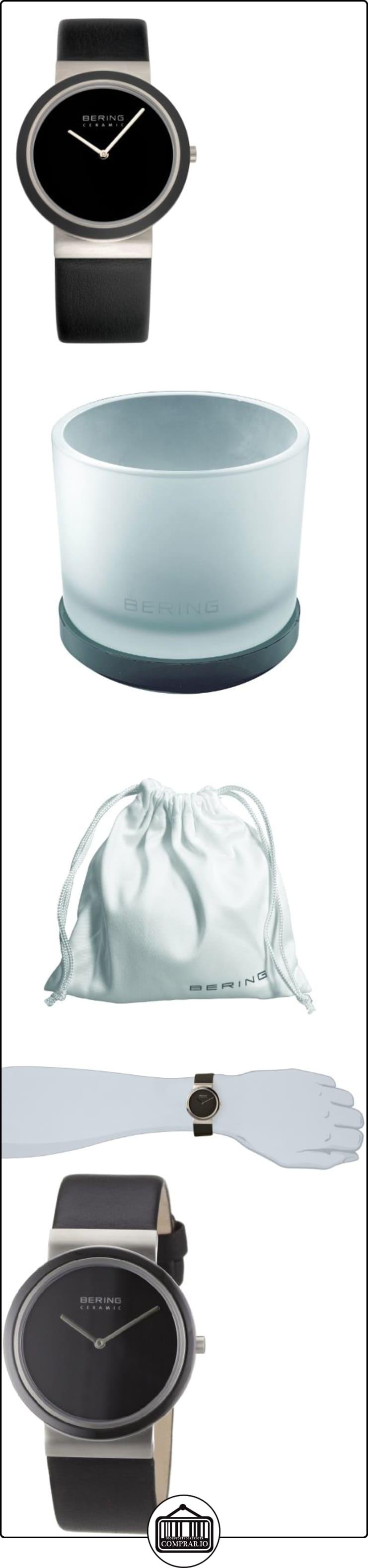 Bering Ceramic - Reloj analógico de caballero de cuarzo con correa de piel negra - sumergible a 50 metros  ✿ Relojes para hombre - (Gama media/alta) ✿