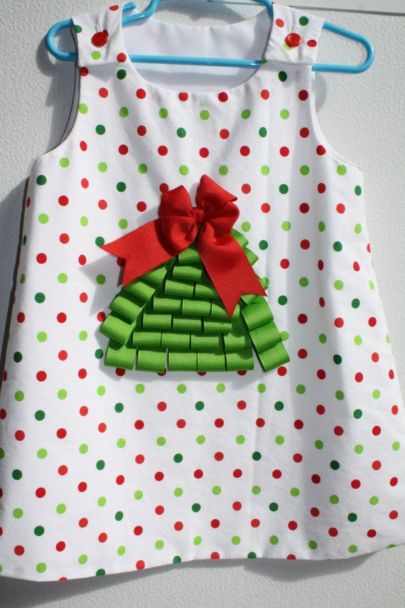 Girls Ribbon Christmas Tree Dress by Oohlawee on Etsy, $30.00