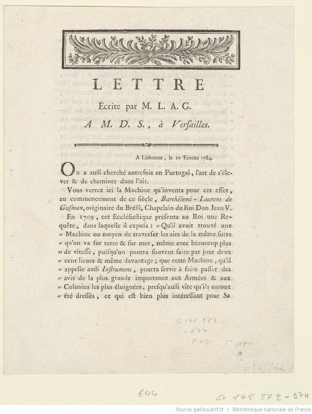 lettre da Lettre écrite par M. L. A. G., A M. D. S. à Versailles : A  lettre da