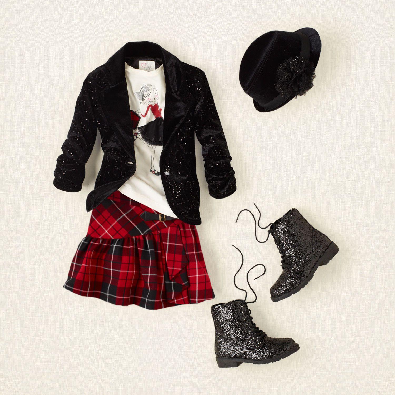 Girl  outfits  plaid tidings  plaid rocker  Childrenus Clothing
