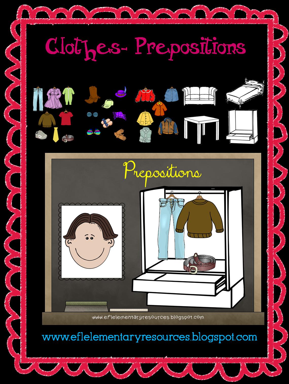 Esl Clothes Unit Preposition Worksheet And Cutouts