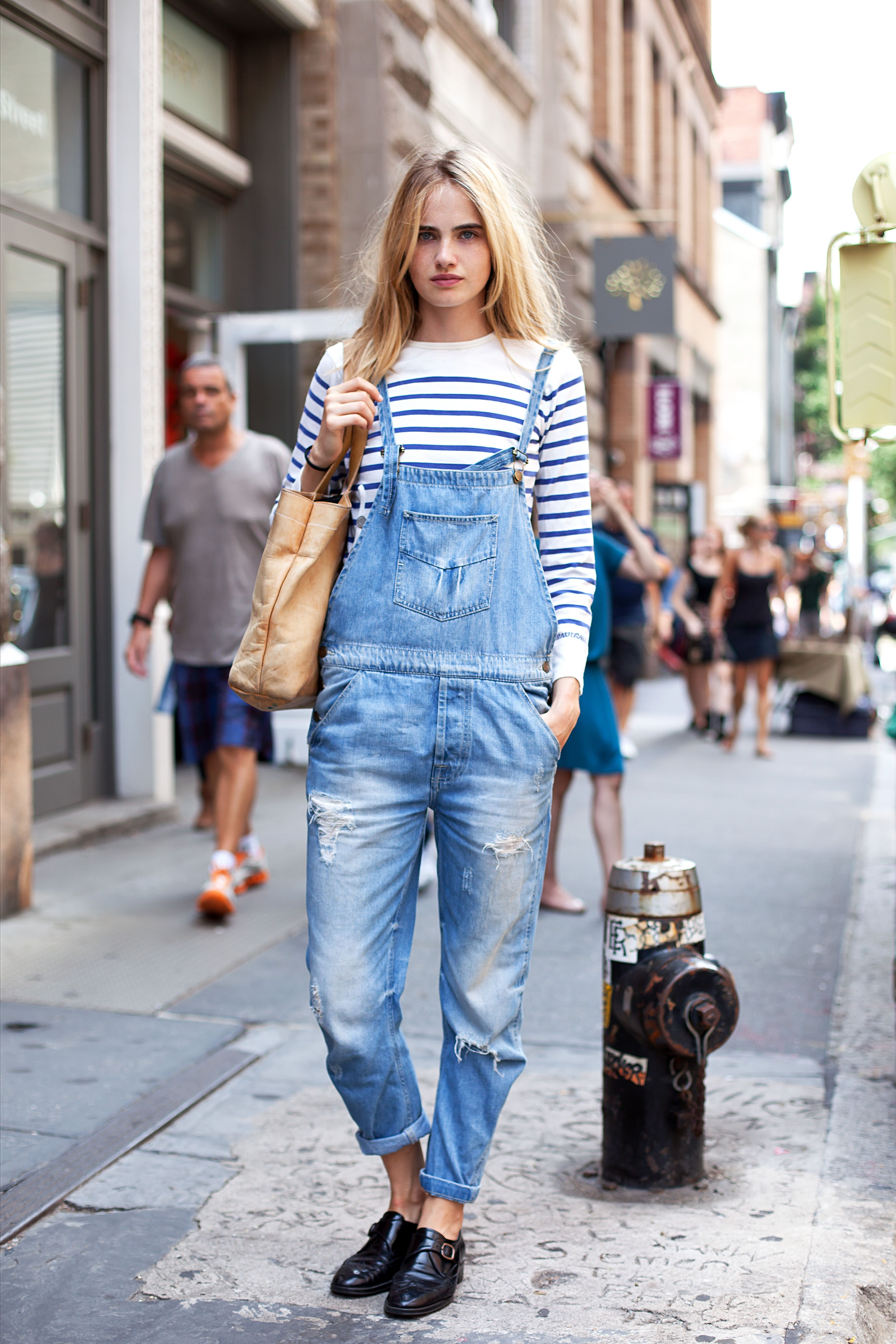 57a5956fc7f Dressed down dungarees and a breton in New York. Overalls Fashion