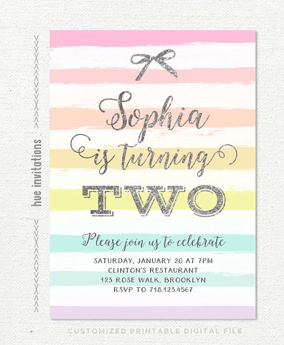 Rainbow Girls 2nd Birthday Invitation Party Silver Glitter Pastel Stripes Bow Girly Two 236