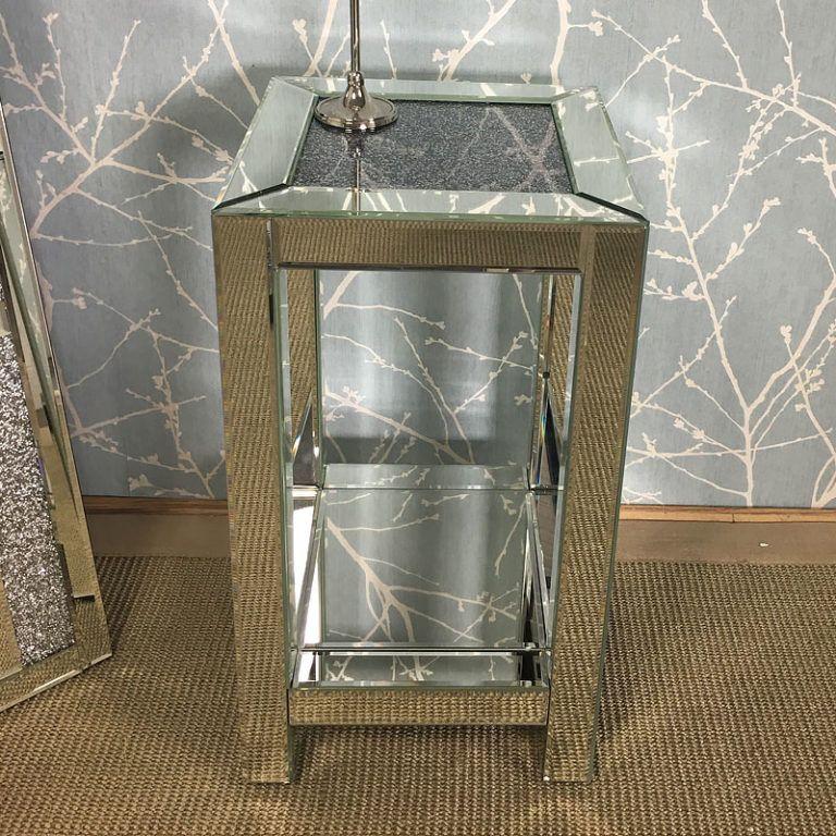 Diamond Crush Mirrored Medium End Lamp Table in 2020