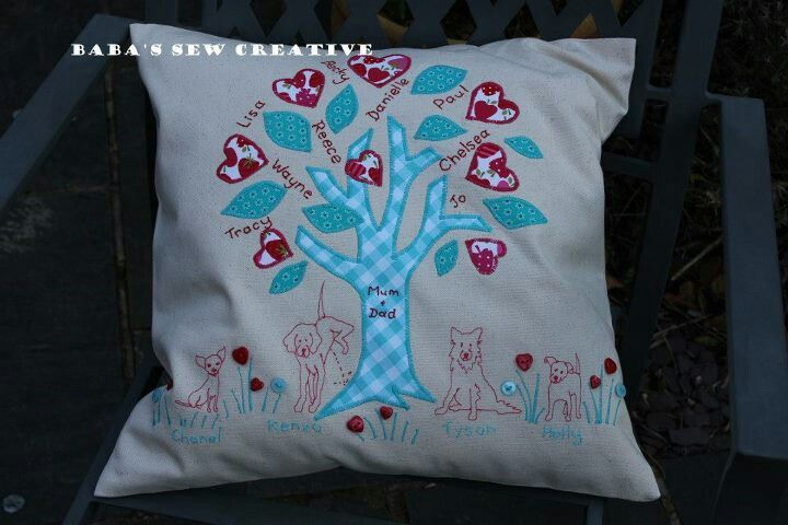 Family tree cushion from baba's sew creative on Facebook