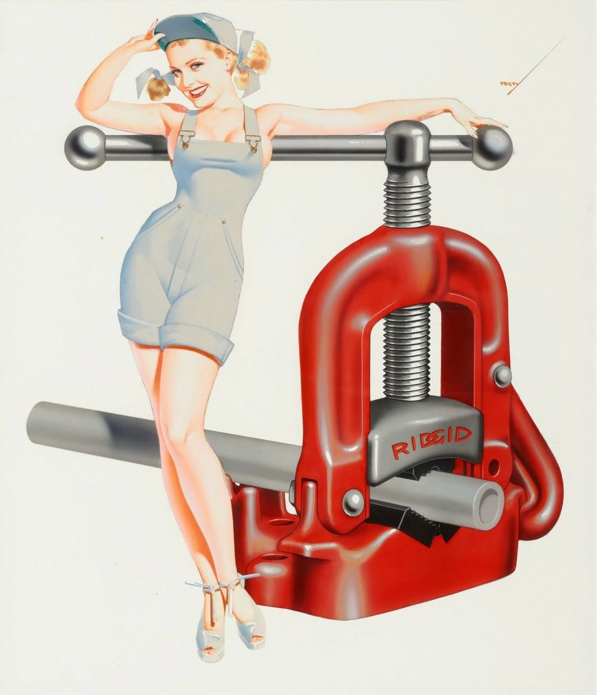 George Petty Pin Up Girls: Ridged Tools Pin Up With Pipe Vise