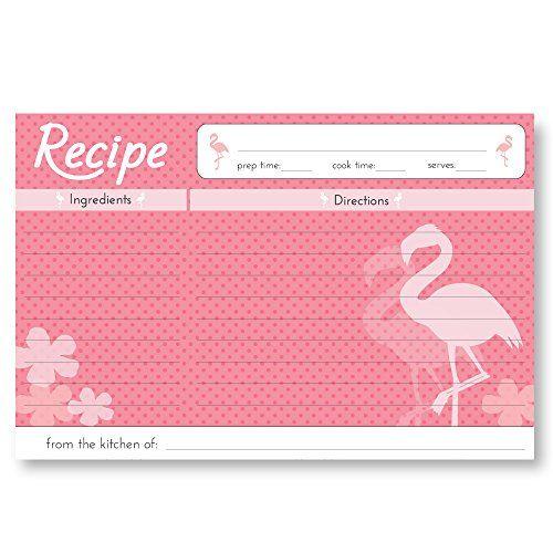 Home Advantage 50 Double Sided 4x6 Flamingo Recipe Card S Recipe Cards Template Printable Recipe Cards Flamingo Recipe