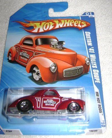 "Hot Wheels Metallic Red Custom '41 Willys Coupe with Hot Wheels Speed Shop - #01 of 2010 HW Hot Rods Series by Mattel, Inc.. $0.01. Metallic Red Body with White and Black ""Hot Wheels Speed Shop"" Accents.. The Custom '41 Willys Coupe comes 1/64 scale"