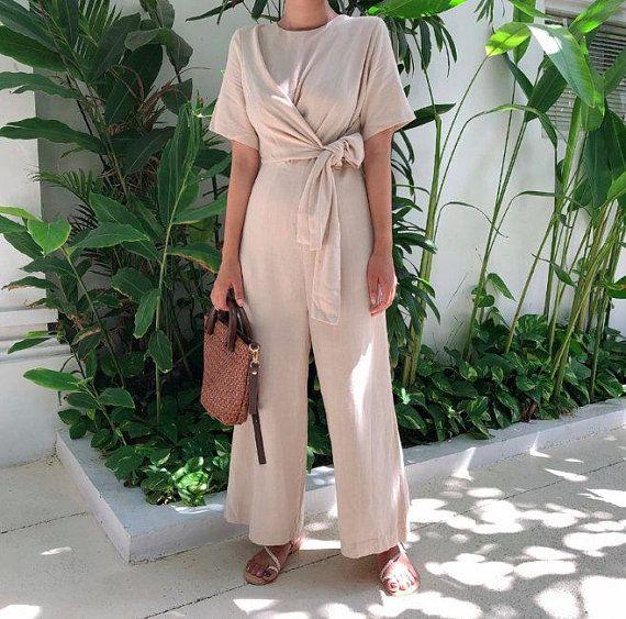 99082b6fd409f0 2Colors Linen jumpsuit / Loose linen Jumpsuit / Linen overall / Linen women  romper / Linen clothes /