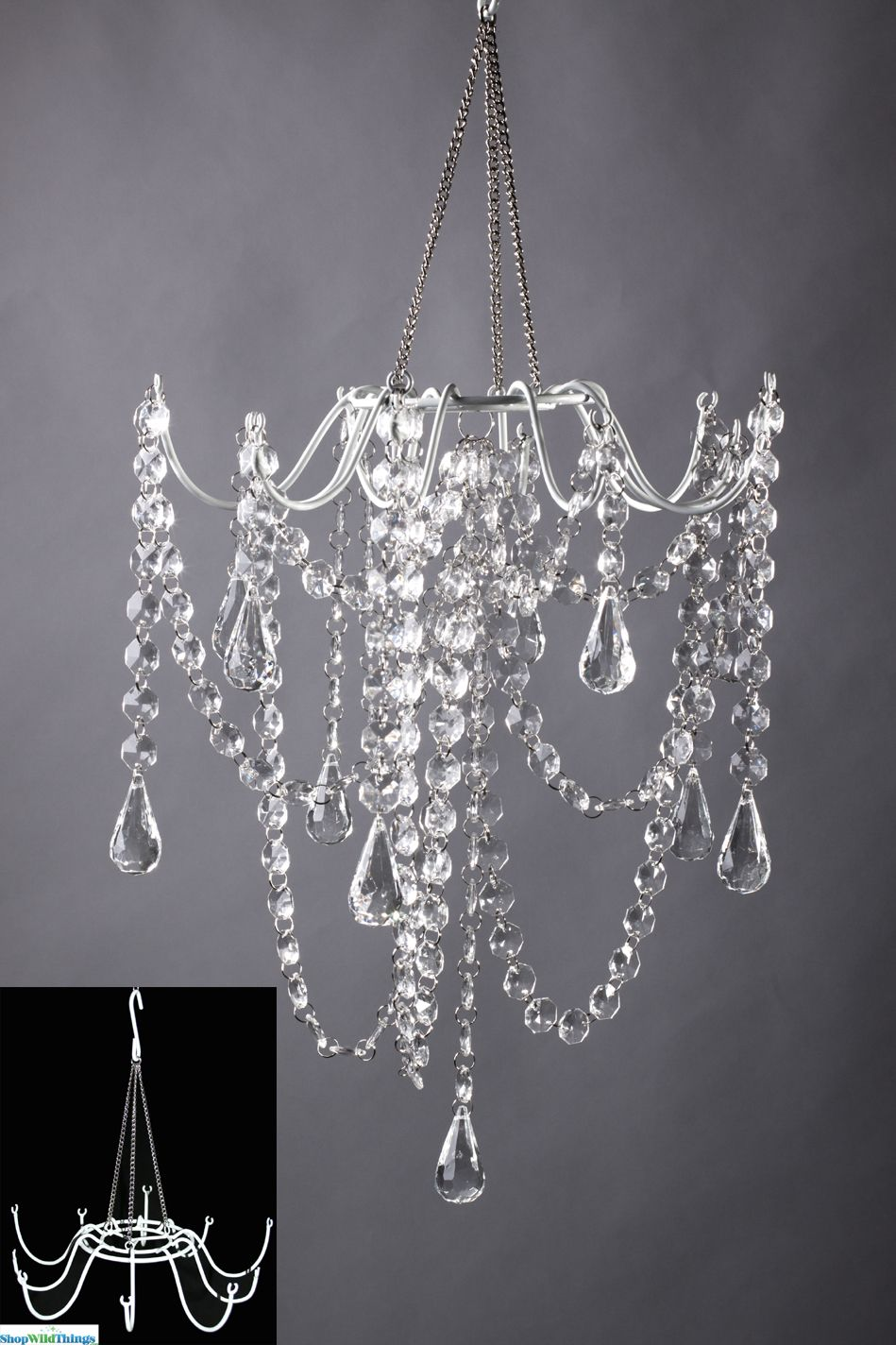 Create your very own chandelier decoration using our white metal