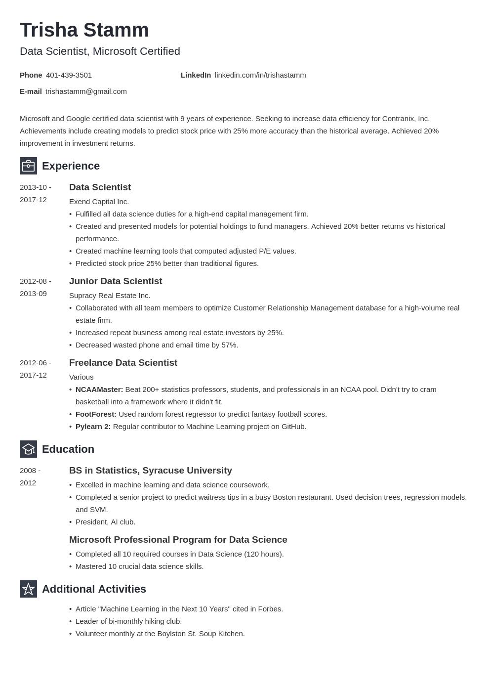 Data Scientist Resume Example Template Newcast Resume Examples Job Resume Examples Data Scientist