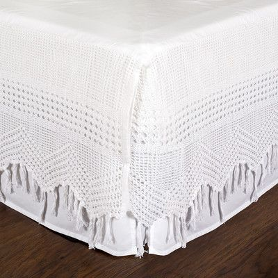 Pom Pom At Home Vintage Crochet Bed Skirt Size: King, Color: White