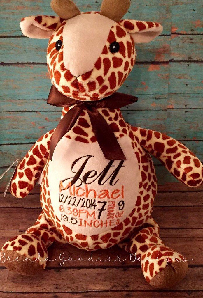 Personalized baby gifts baby cubbies stuffed animal plush personalized baby giftbaby cubbiesstuffed animalplush keepsakegiraffe by brendagoodierdesigns negle Choice Image