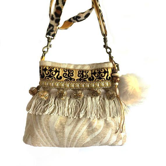 Wonderbaar Boho buideltas crème goud, stoffen tas handgemaakt, OOAK handtas LT-41