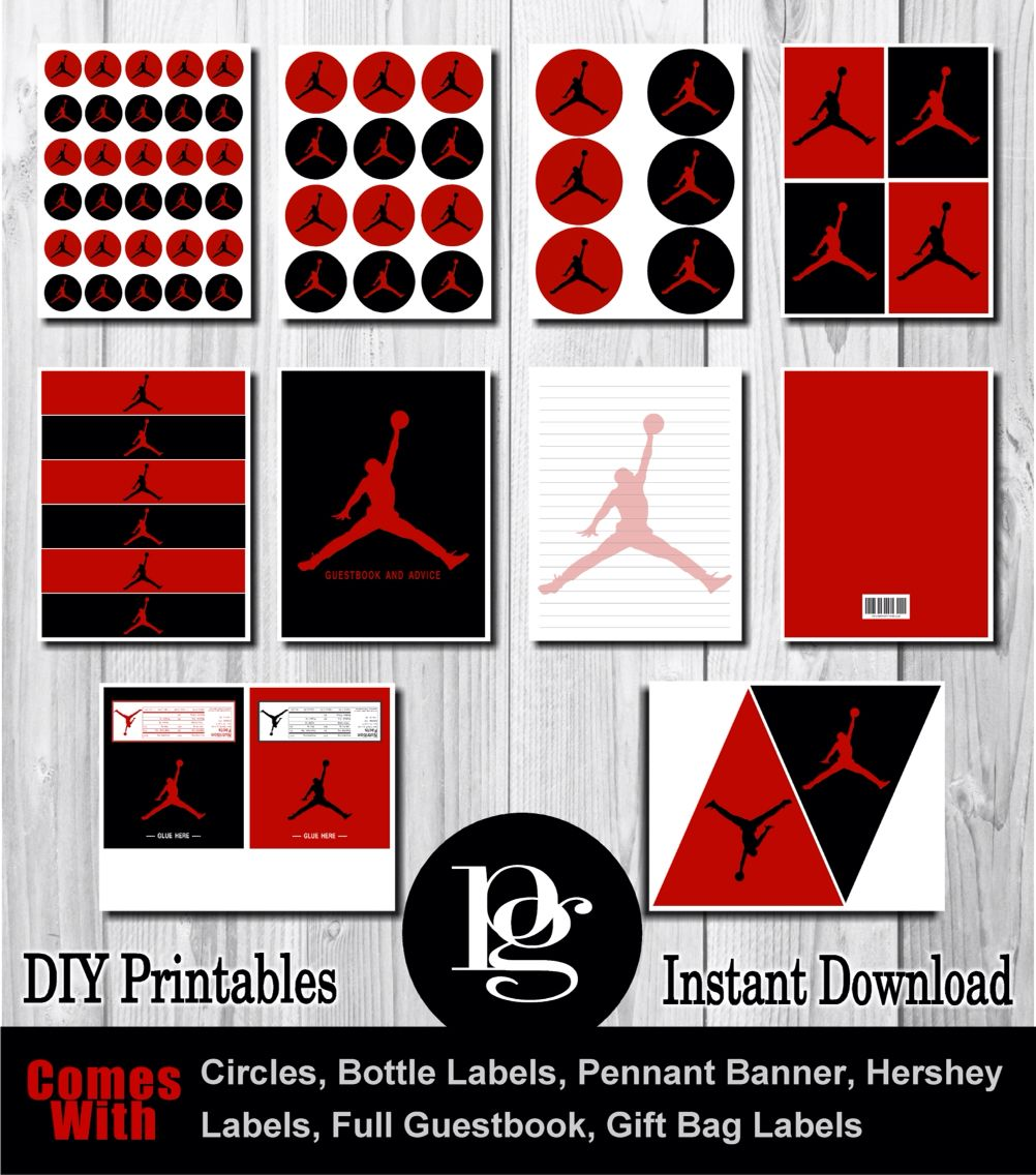 d686b1ce746 $14.95 Printable Michael Jordan Party Supplies in red and black ...
