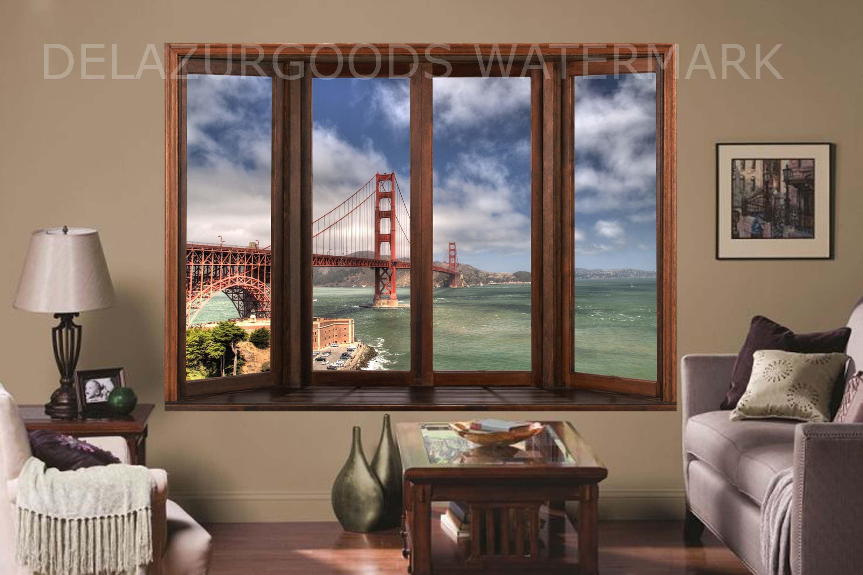 Golden Gate Bridge Window View Wallpaper Peel And Stick Etsy Window View View Wallpaper Fresh Contemporary