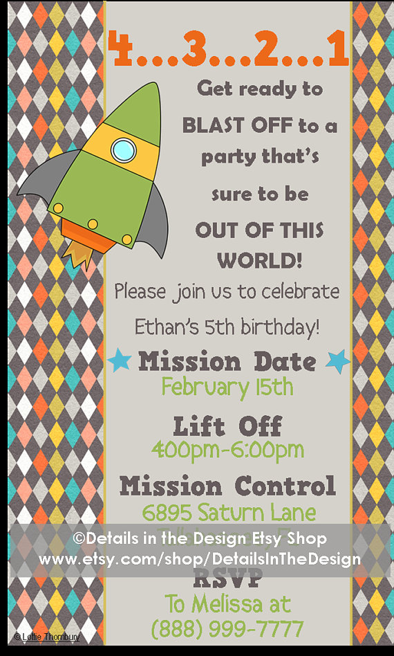 Outer Space Printable Party Invitation 4321 Blast off to a