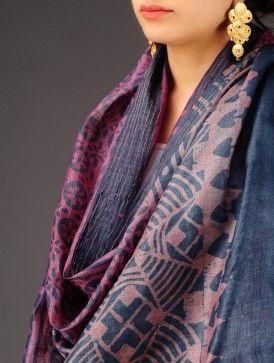 Pink-Indigo Tussar Silk Batik Printed Stole