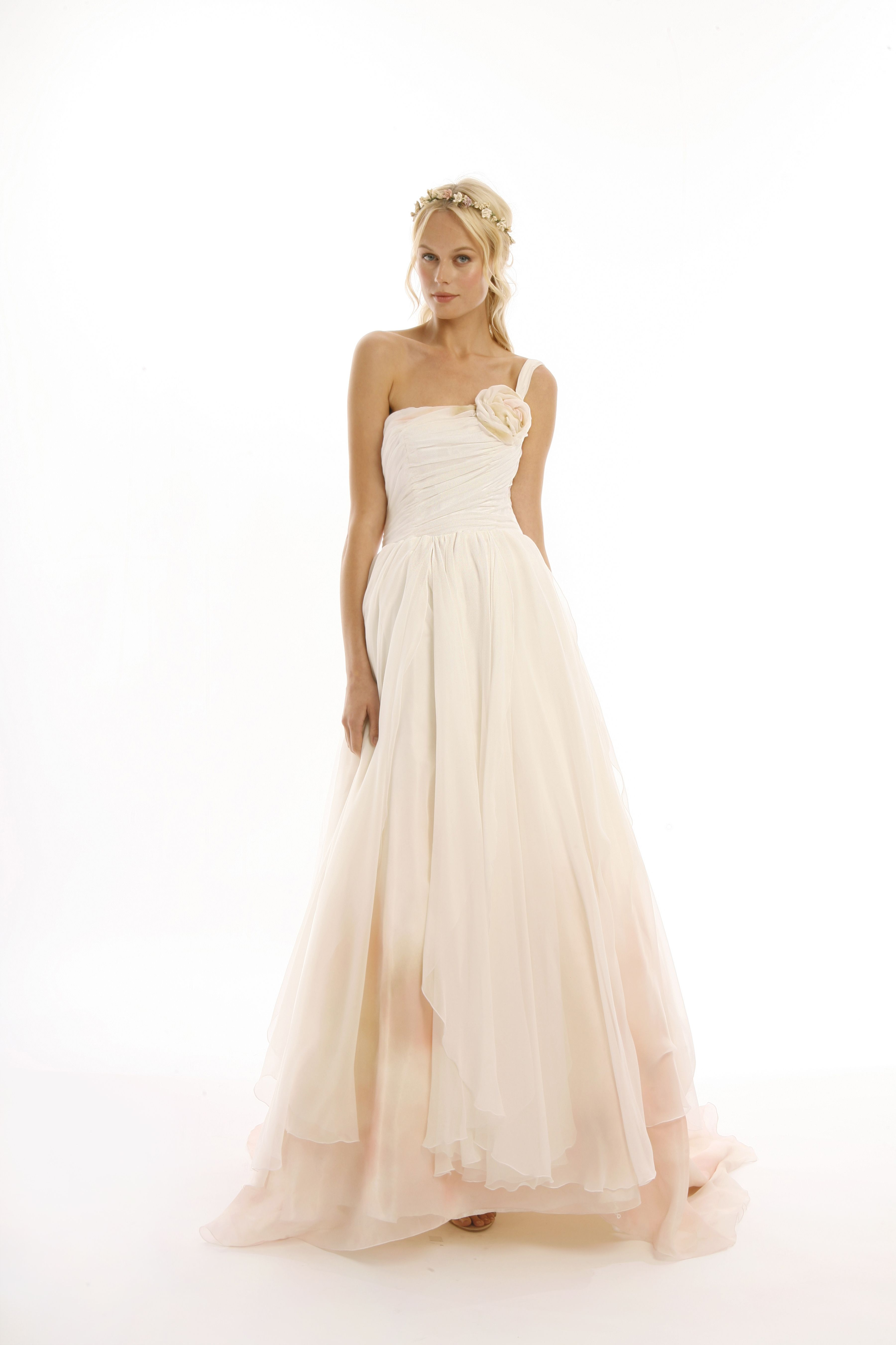 Joy Collection By Eugenia Couture Style Miranda Blush Dipped Silk Chiffon A Line Gown With Soft Flowing Skirt And Shirred One Shoulder Bodice
