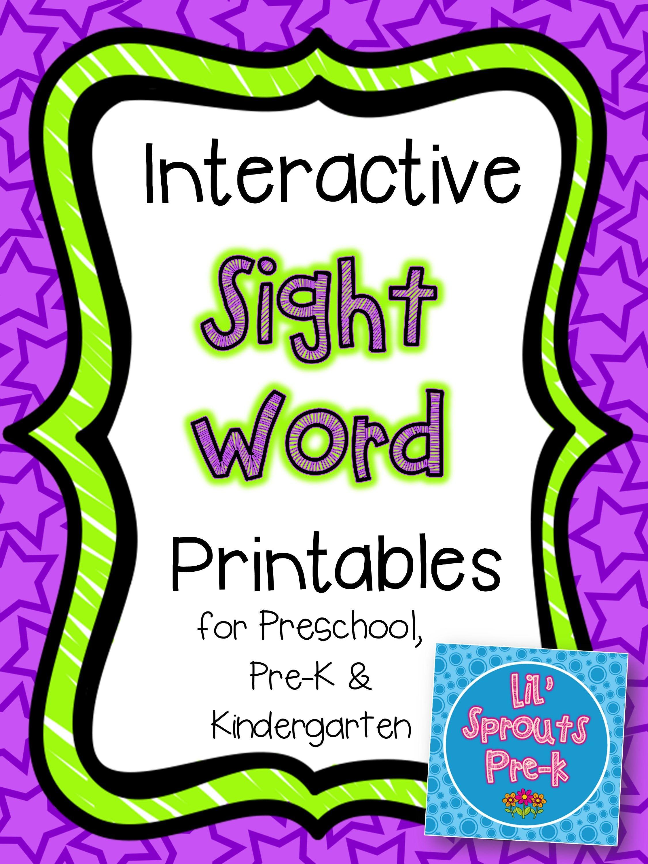 Interactive Sight Word Practice For Prek Pre K
