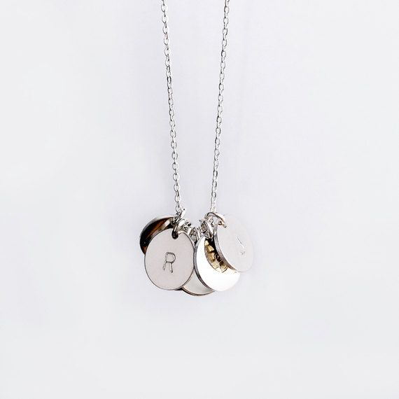 Initial necklace sterling silver round pendant necklace mom initial necklace sterling silver round pendant necklace mom necklace simple everyday jewelry mozeypictures Gallery