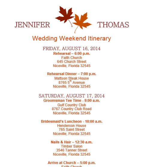Fall Wedding Itinerary Template On Bridetodo