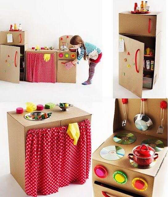 Great Create An Inexpensive, But Oh So Cute, Childu0027s Kitchen Out Of Cardboard  Boxes. Recycle Plastic Cups To Create Stove Knobs And CDs To Make The  Burners.
