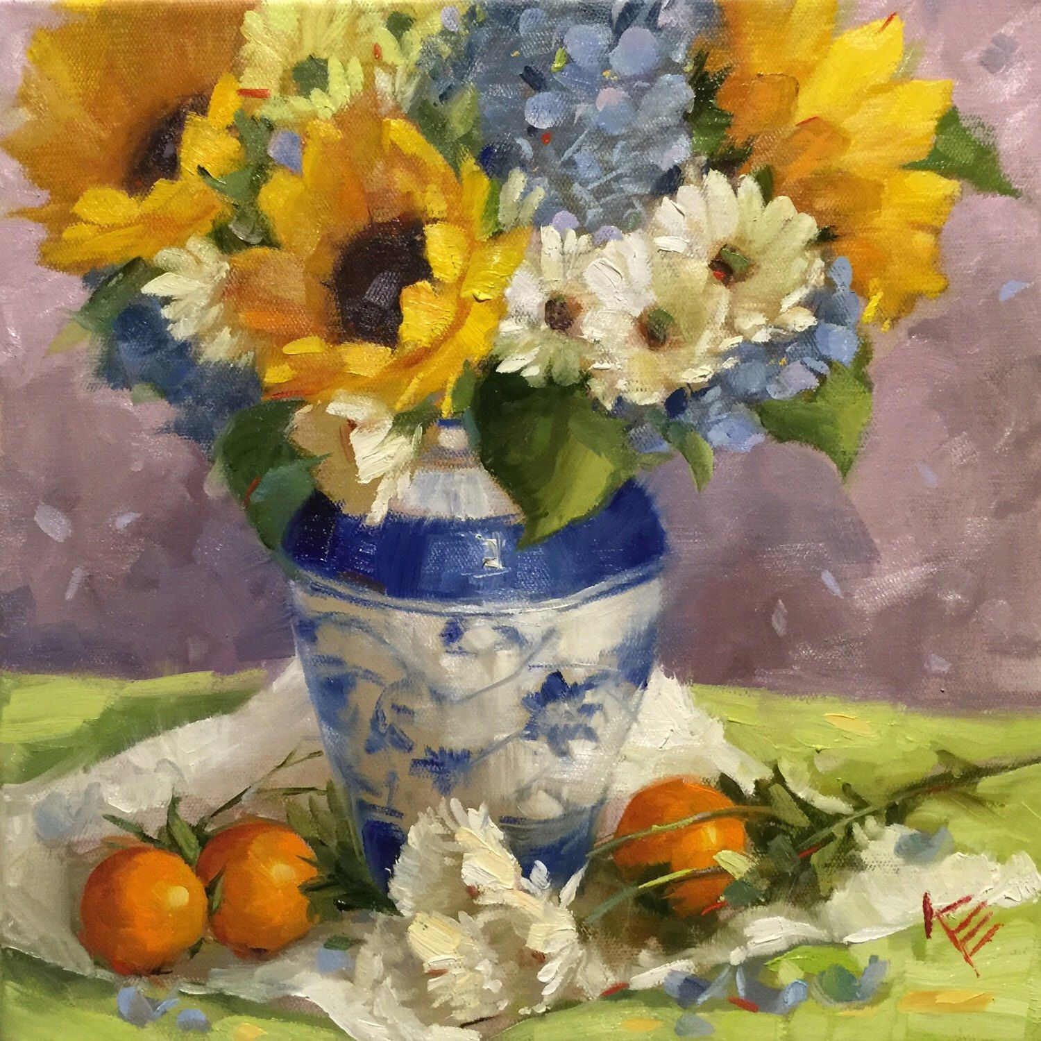 A personal favorite from my Etsy shop https://www.etsy.com/listing/265169504/sunflower-hydrangeas-daisies-still