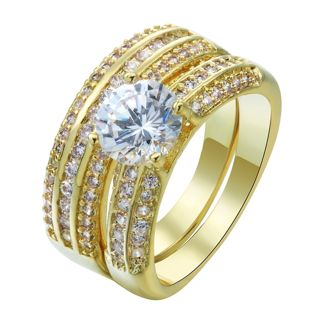 luxury gold finger Rings sets pave white AAAAA czech