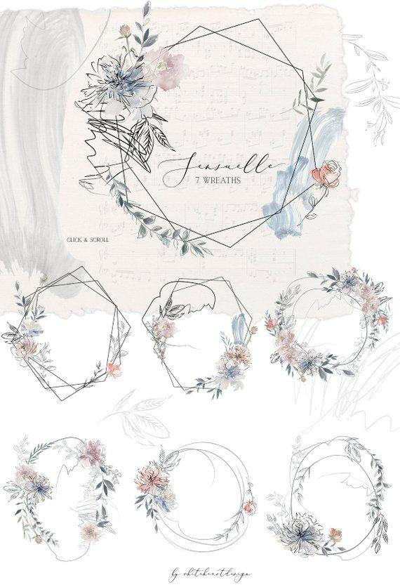 Sensuelle Pink Gray Blue Watercolor Floral Wreaths Geometric Frames Flowers Peonies Clipart Set Wedd