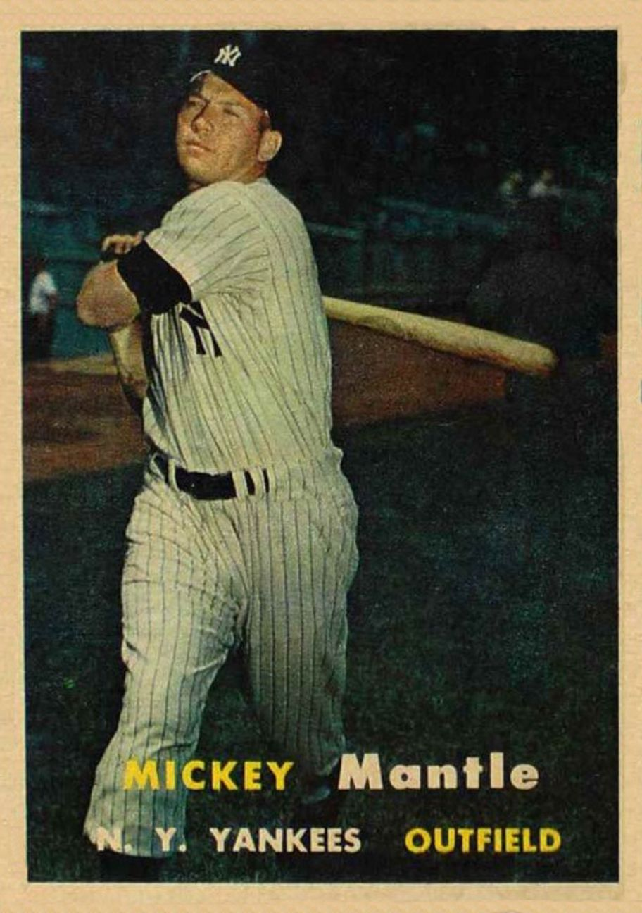 1957 Topps Mickey Mantle Baseball Card Values Baseball Cards Mickey Mantle