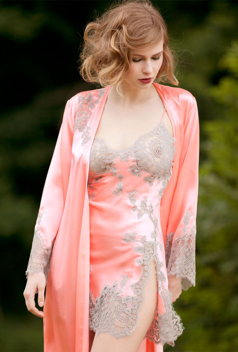 Peignoir sets and more Lovely coral and taupe slip night gown and ...