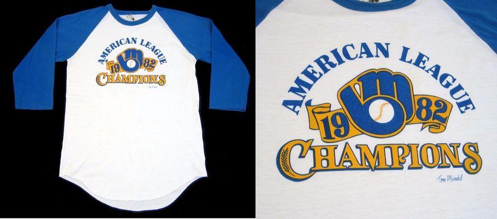 low cost a22d3 d4a78 Vintage 1982 BREWERS SHIRT American League Champions Raglan ...